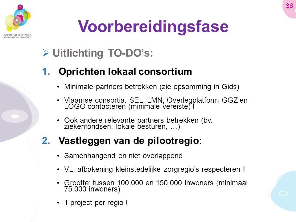 Voorbereidingsfase  Uitlichting TO-DO's: 1.Oprichten lokaal consortium Minimale partners betrekken (zie opsomming in Gids) Vlaamse consortia: SEL, LMN, Overlegplatform GGZ en LOGO contacteren (minimale vereiste) .