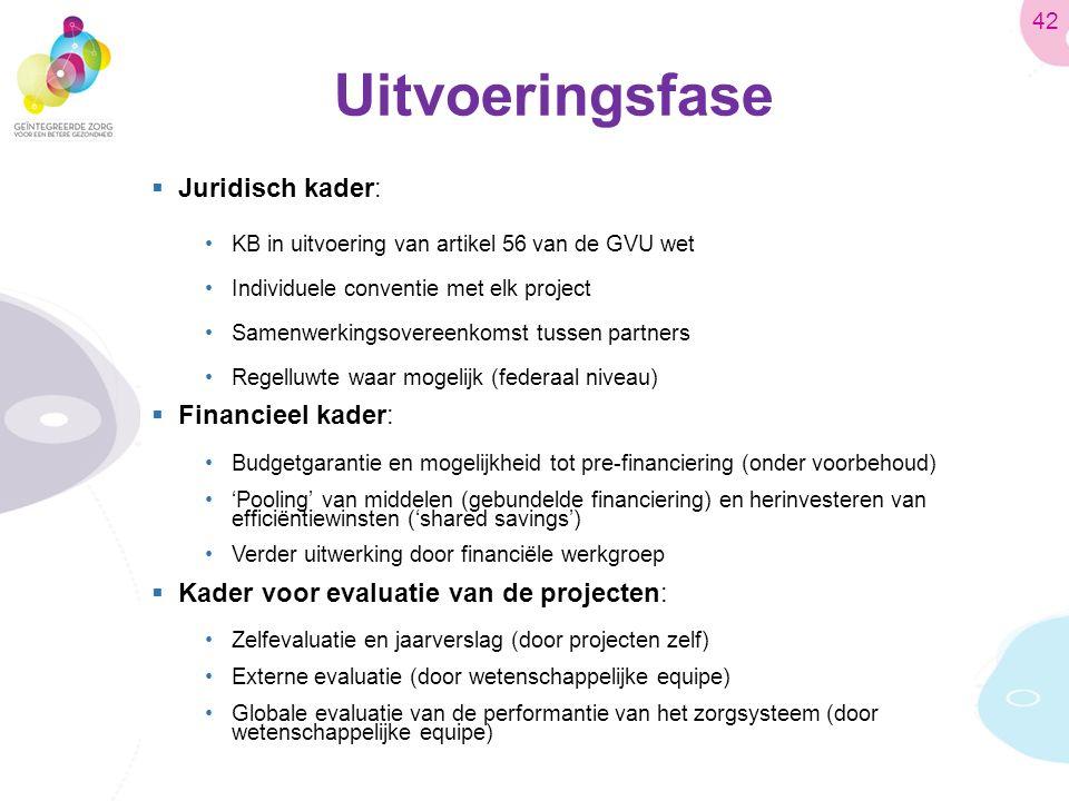 Uitvoeringsfase  Juridisch kader: KB in uitvoering van artikel 56 van de GVU wet Individuele conventie met elk project Samenwerkingsovereenkomst tussen partners Regelluwte waar mogelijk (federaal niveau)  Financieel kader: Budgetgarantie en mogelijkheid tot pre-financiering (onder voorbehoud) 'Pooling' van middelen (gebundelde financiering) en herinvesteren van efficiëntiewinsten ('shared savings') Verder uitwerking door financiële werkgroep  Kader voor evaluatie van de projecten: Zelfevaluatie en jaarverslag (door projecten zelf) Externe evaluatie (door wetenschappelijke equipe) Globale evaluatie van de performantie van het zorgsysteem (door wetenschappelijke equipe) 42