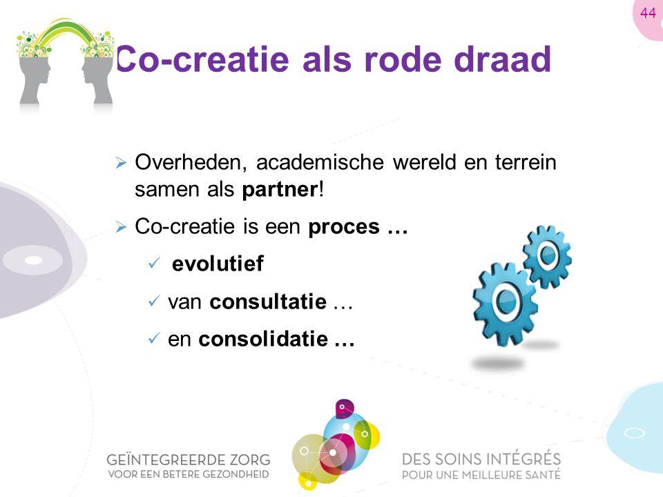 Co-creatie als rode draad  Overheden, academische wereld en terrein samen als partner.
