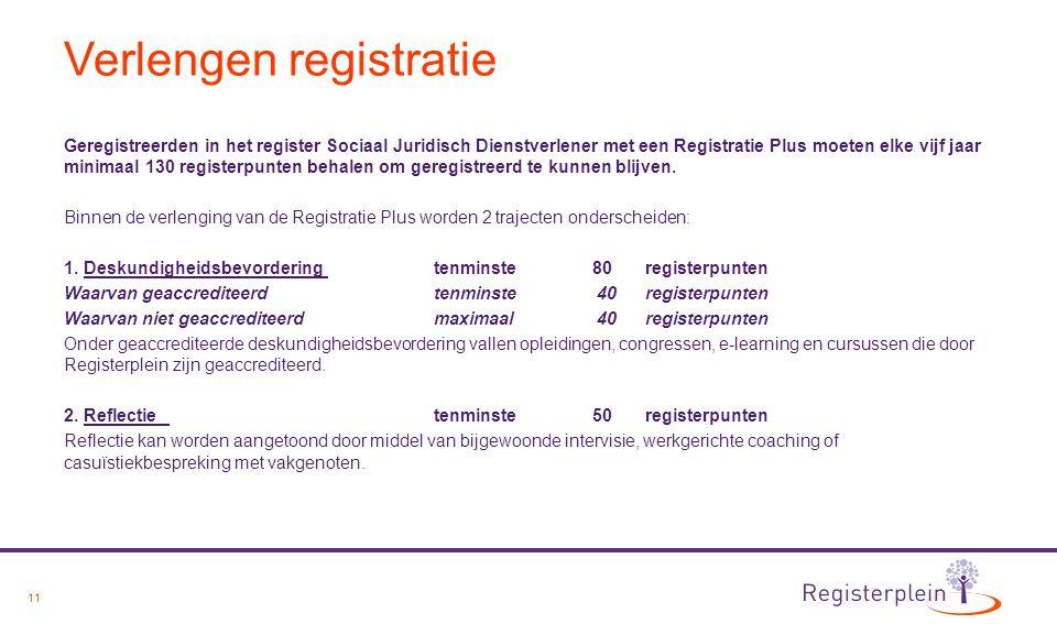 11 Verlengen registratie Geregistreerden in het register Sociaal Juridisch Dienstverlener met een Registratie Plus moeten elke vijf jaar minimaal 130 registerpunten behalen om geregistreerd te kunnen blijven.