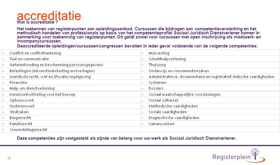 12 accreditatie Wat is accreditatie ? Het toekennen van registerpunten aan opleidingsaanbod. Cursussen die bijdragen aan competentieversterking en het