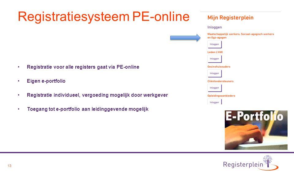 13 Registratiesysteem PE-online Registratie voor alle registers gaat via PE-online Eigen e-portfolio Registratie individueel, vergoeding mogelijk door