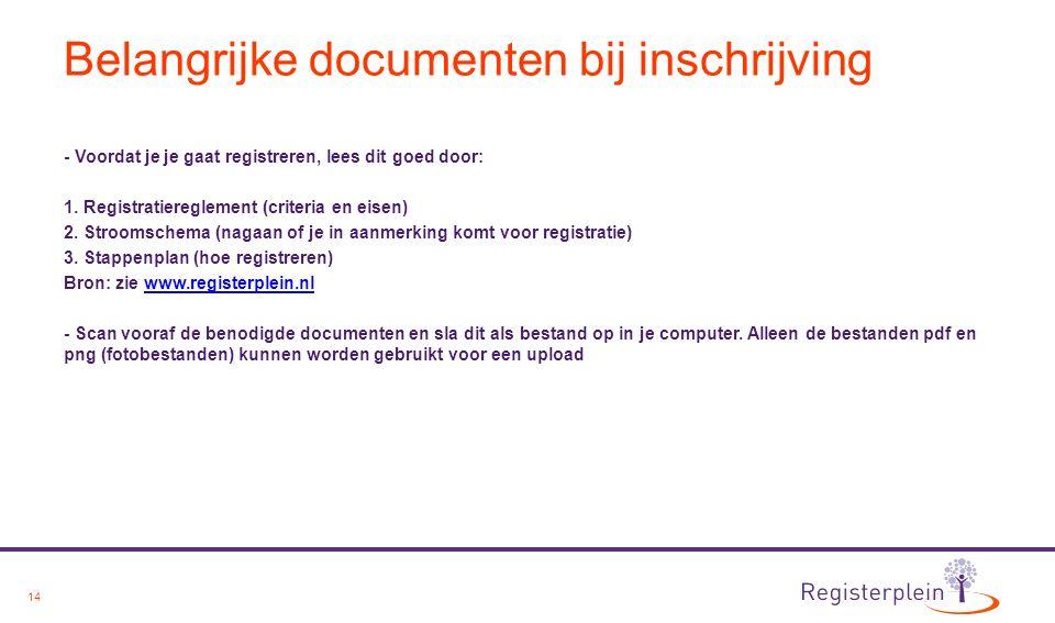 14 Belangrijke documenten bij inschrijving - Voordat je je gaat registreren, lees dit goed door: 1. Registratiereglement (criteria en eisen) 2. Stroom