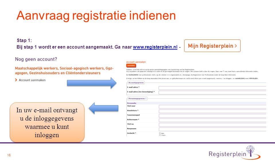15 Aanvraag registratie indienen Stap 1: Bij stap 1 wordt er een account aangemaakt. Ga naar www.registerplein.nl -www.registerplein.nl In uw e-mail o