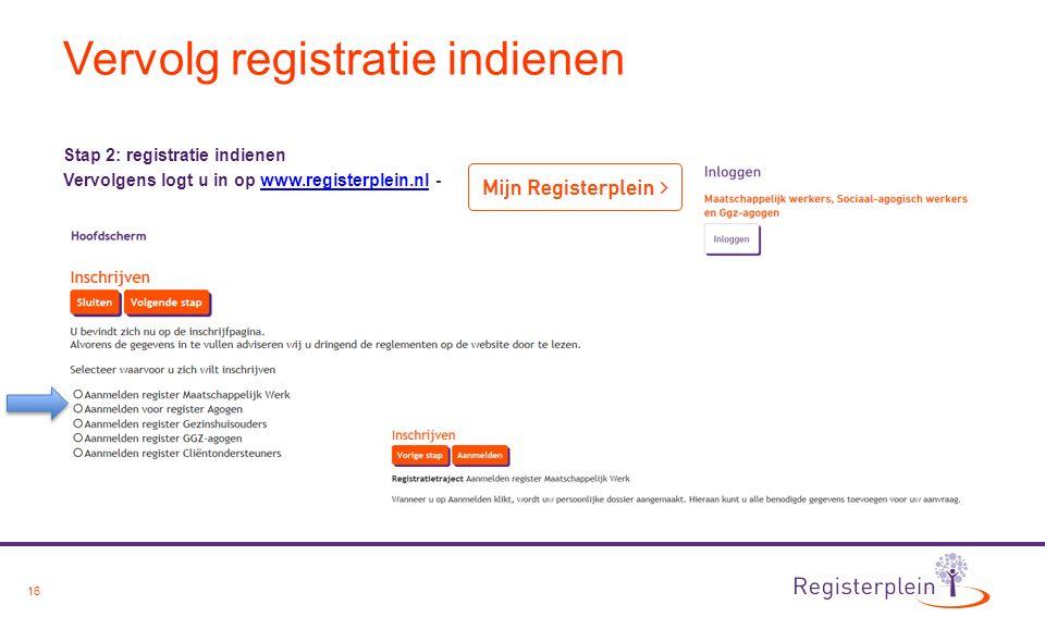 16 Vervolg registratie indienen Stap 2: registratie indienen Vervolgens logt u in op www.registerplein.nl -www.registerplein.nl
