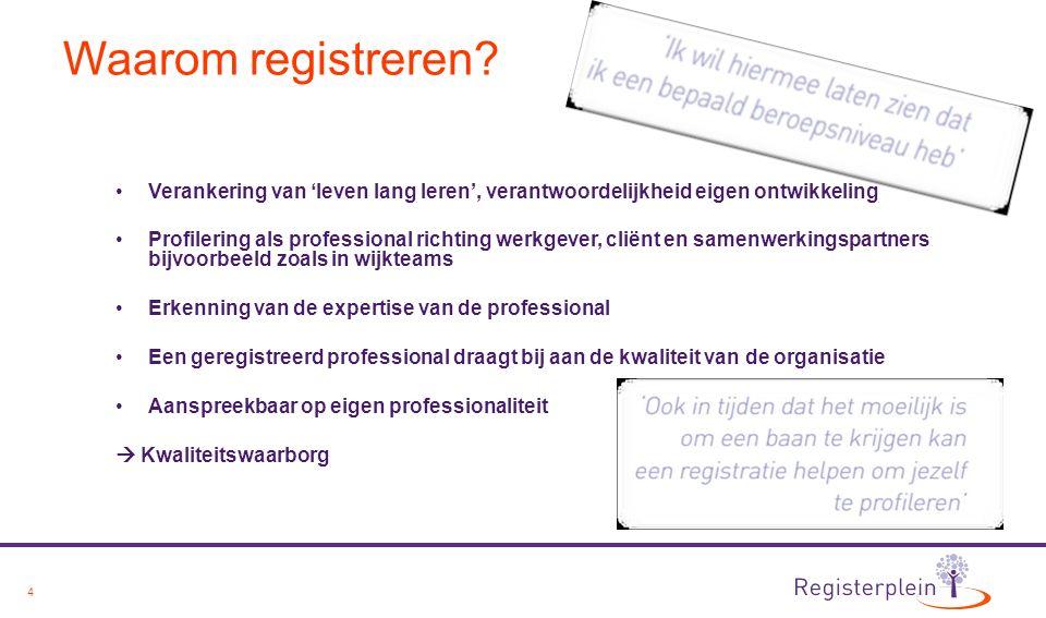 4 Waarom registreren? Verankering van 'leven lang leren', verantwoordelijkheid eigen ontwikkeling Profilering als professional richting werkgever, cli