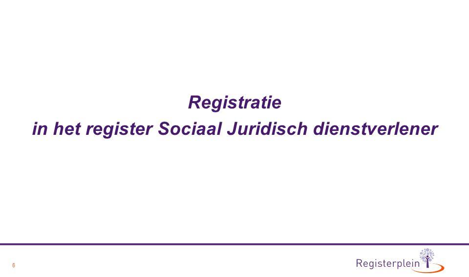 7 Beroepsprofiel en Beroepscode Register Sociaal Juridisch Dienstverlener Toelatings- en herregistratiecriteria Klachtenprocedure gebaseerd op: - Beroepsprofiel LOSR - Beroepscode LOSR