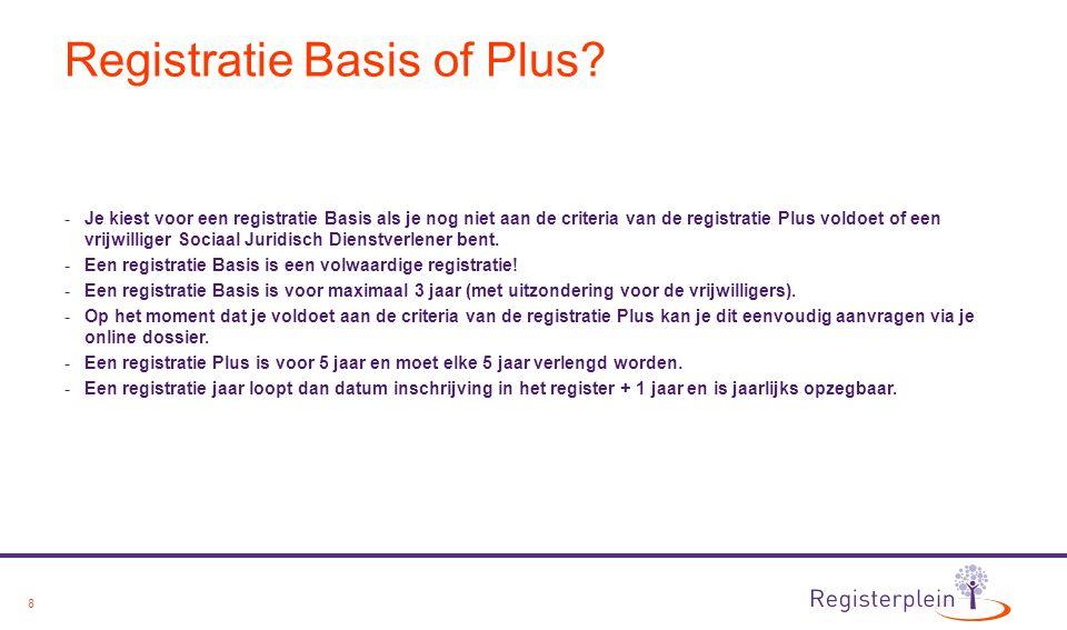 9 Criteria register Sociaal Juridisch Dienstverlener Registratie Basis: De registratiecriteria voor de Registratie Basis zijn:  HBO-diploma van de volgende opleidingen: SJD of Rechten en alle voorlopers hiervan.