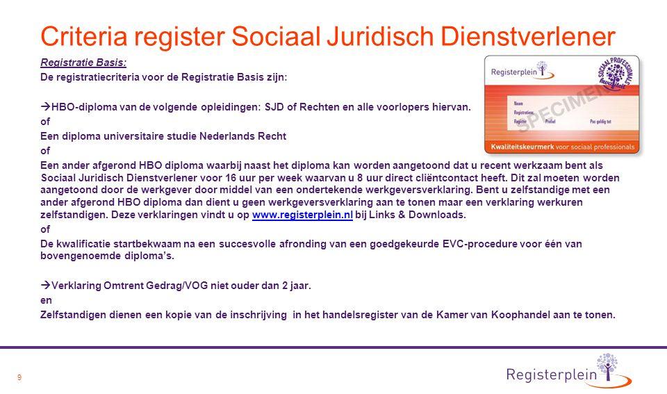 10 Criteria register Sociaal Juridisch Dienstverlener De registratiecriteria voor de Registratie Plus zijn:  HBO-diploma van de volgende opleidingen: SJD of Rechten en alle voorlopers hiervan.