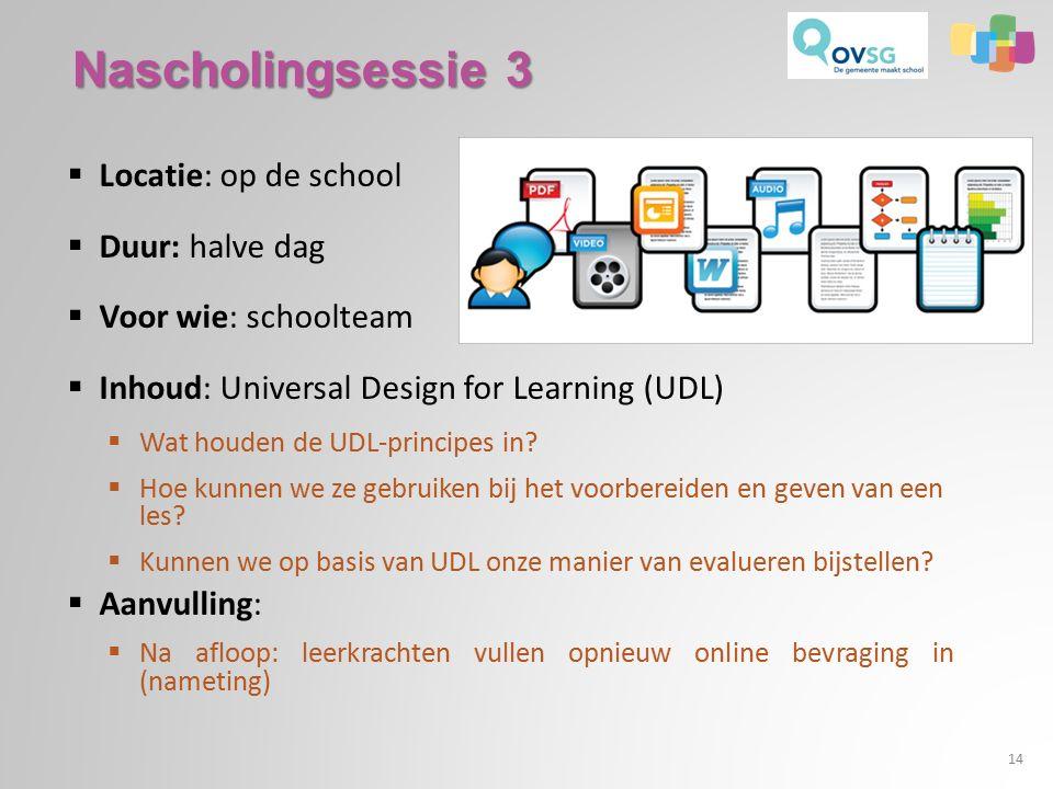  Locatie: op de school  Duur: halve dag  Voor wie: schoolteam  Inhoud: Universal Design for Learning (UDL)  Wat houden de UDL-principes in.