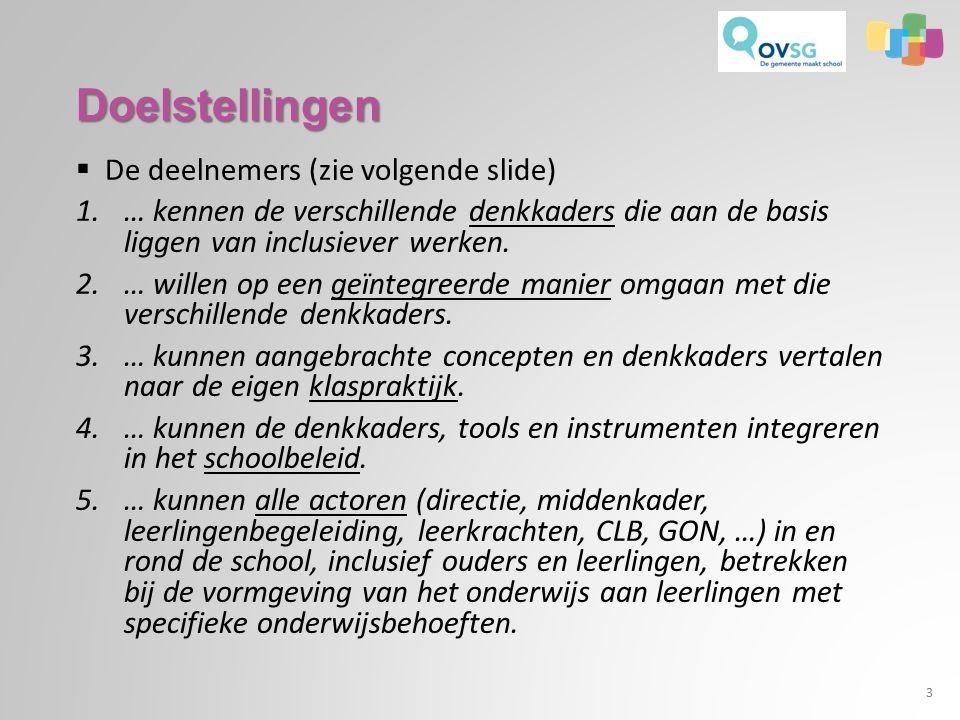 Doelstellingen  De deelnemers (zie volgende slide) 1.… kennen de verschillende denkkaders die aan de basis liggen van inclusiever werken.
