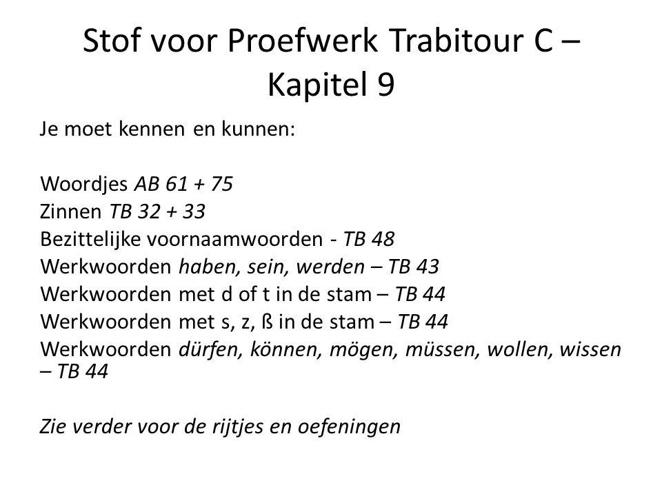 Stof voor Proefwerk Trabitour C – Kapitel 9 Je moet kennen en kunnen: Woordjes AB 61 + 75 Zinnen TB 32 + 33 Bezittelijke voornaamwoorden - TB 48 Werkw