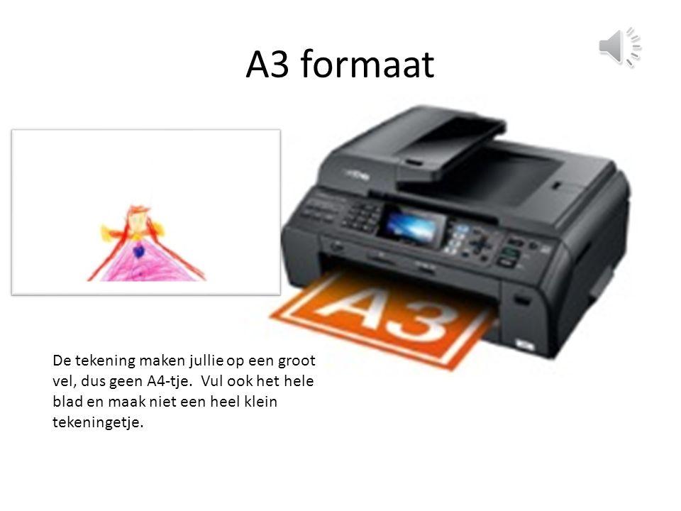 A3 formaat De tekening maken jullie op een groot vel, dus geen A4-tje.