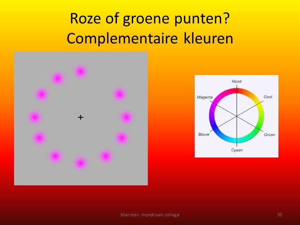 Roze of groene punten? Complementaire kleuren bherman mondriaan college30