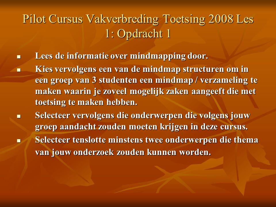 Pilot Cursus Vakverbreding Toetsing 2008 Les 1: Opdracht 1 Lees de informatie over mindmapping door.