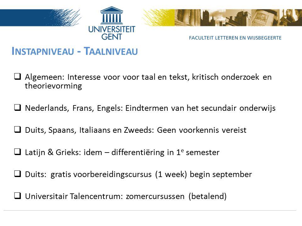 I NSTAPNIVEAU - T AALNIVEAU  Algemeen: Interesse voor voor taal en tekst, kritisch onderzoek en theorievorming  Nederlands, Frans, Engels: Eindterme