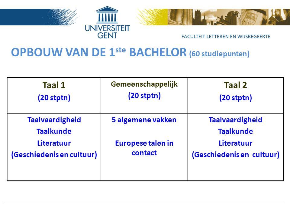 OPBOUW VAN DE 1 ste BACHELOR (60 studiepunten) Taal 1 (20 stptn) Gemeenschappelijk (20 stptn) Taal 2 (20 stptn) Taalvaardigheid Taalkunde Literatuur (