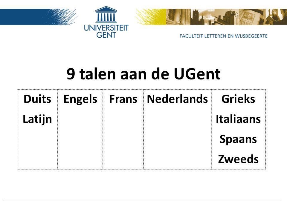 9 talen aan de UGent DuitsEngelsFransNederlandsGrieks LatijnItaliaans Spaans Zweeds