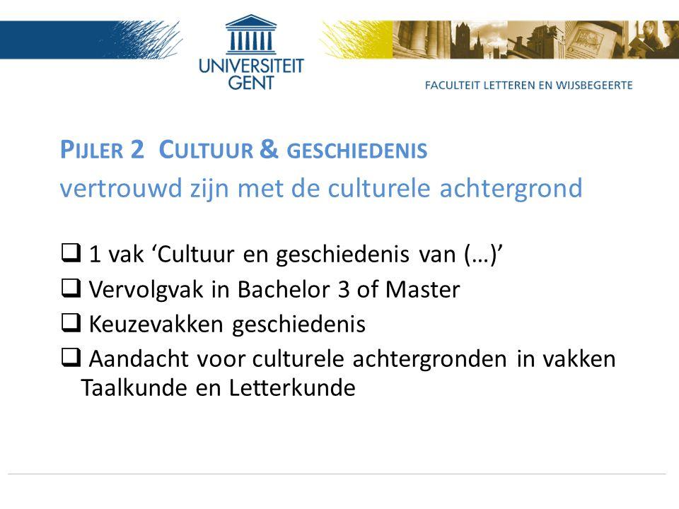 P IJLER 2 C ULTUUR & GESCHIEDENIS vertrouwd zijn met de culturele achtergrond  1 vak 'Cultuur en geschiedenis van (…)'  Vervolgvak in Bachelor 3 of