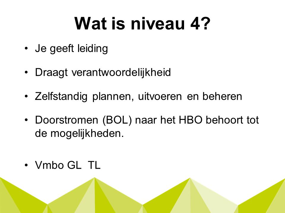 Wat is niveau 4.