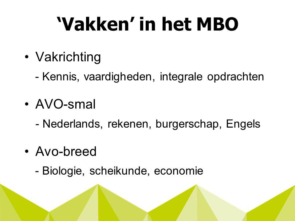 'Vakken' in het MBO Vakrichting - Kennis, vaardigheden, integrale opdrachten AVO-smal - Nederlands, rekenen, burgerschap, Engels Avo-breed - Biologie, scheikunde, economie