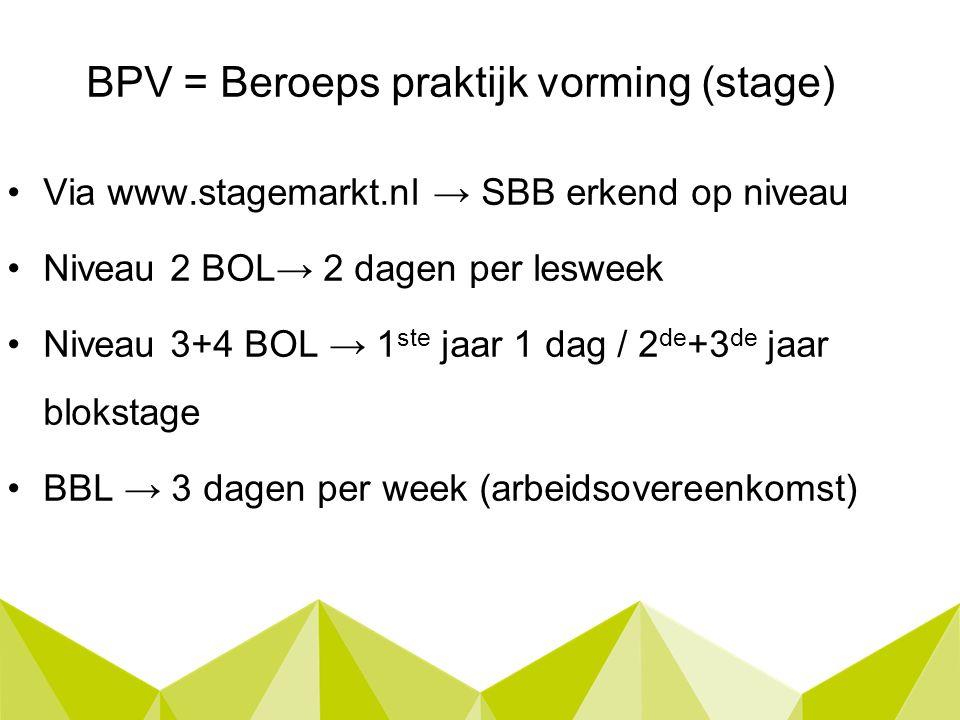 BPV = Beroeps praktijk vorming (stage) Via www.stagemarkt.nl → SBB erkend op niveau Niveau 2 BOL→ 2 dagen per lesweek Niveau 3+4 BOL → 1 ste jaar 1 dag / 2 de +3 de jaar blokstage BBL → 3 dagen per week (arbeidsovereenkomst)
