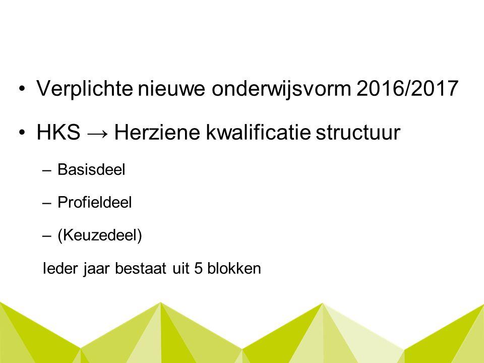 Verplichte nieuwe onderwijsvorm 2016/2017 HKS → Herziene kwalificatie structuur –Basisdeel –Profieldeel –(Keuzedeel) Ieder jaar bestaat uit 5 blokken