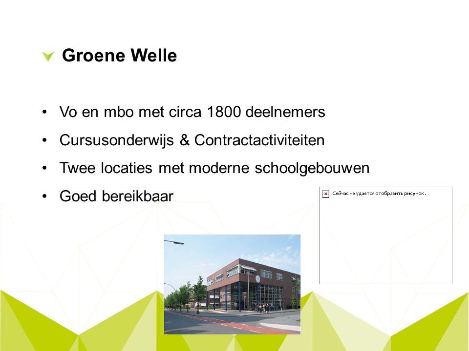 Groene Welle Vo en mbo met circa 1800 deelnemers Cursusonderwijs & Contractactiviteiten Twee locaties met moderne schoolgebouwen Goed bereikbaar