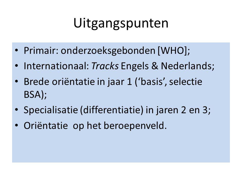 Uitgangspunten Primair: onderzoeksgebonden [WHO]; Internationaal: Tracks Engels & Nederlands; Brede oriëntatie in jaar 1 ('basis', selectie BSA); Specialisatie (differentiatie) in jaren 2 en 3; Oriëntatie op het beroepenveld.