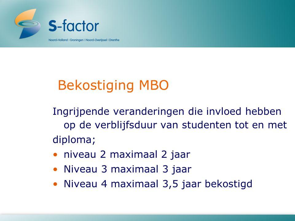 Bekostiging MBO Ingrijpende veranderingen die invloed hebben op de verblijfsduur van studenten tot en met diploma; niveau 2 maximaal 2 jaar Niveau 3 maximaal 3 jaar Niveau 4 maximaal 3,5 jaar bekostigd