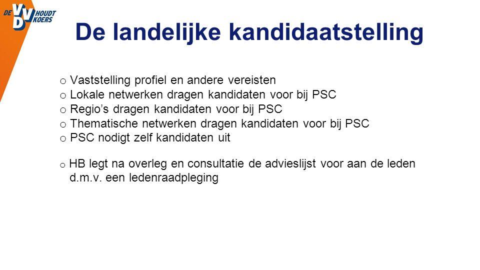 De landelijke kandidaatstelling o Vaststelling profiel en andere vereisten o Lokale netwerken dragen kandidaten voor bij PSC o Regio's dragen kandidat