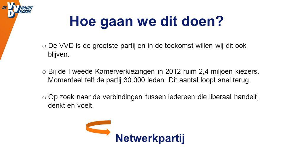 Hoe gaan we dit doen? o De VVD is de grootste partij en in de toekomst willen wij dit ook blijven. o Bij de Tweede Kamerverkiezingen in 2012 ruim 2,4