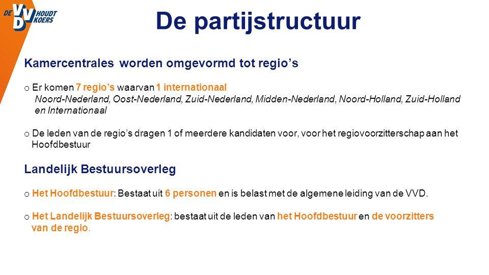 Kamercentrales worden omgevormd tot regio's o Er komen 7 regio's waarvan 1 internationaal Noord-Nederland, Oost-Nederland, Zuid-Nederland, Midden-Nederland, Noord-Holland, Zuid-Holland en Internationaal o De leden van de regio's dragen 1 of meerdere kandidaten voor, voor het regiovoorzitterschap aan het Hoofdbestuur Landelijk Bestuursoverleg o Het Hoofdbestuur: Bestaat uit 6 personen en is belast met de algemene leiding van de VVD.