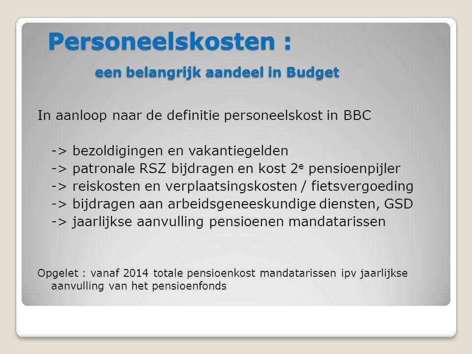 Personeelskosten : een belangrijk aandeel in Budget In aanloop naar de definitie personeelskost in BBC -> bezoldigingen en vakantiegelden -> patronale RSZ bijdragen en kost 2 e pensioenpijler -> reiskosten en verplaatsingskosten / fietsvergoeding -> bijdragen aan arbeidsgeneeskundige diensten, GSD -> jaarlijkse aanvulling pensioenen mandatarissen Opgelet : vanaf 2014 totale pensioenkost mandatarissen ipv jaarlijkse aanvulling van het pensioenfonds