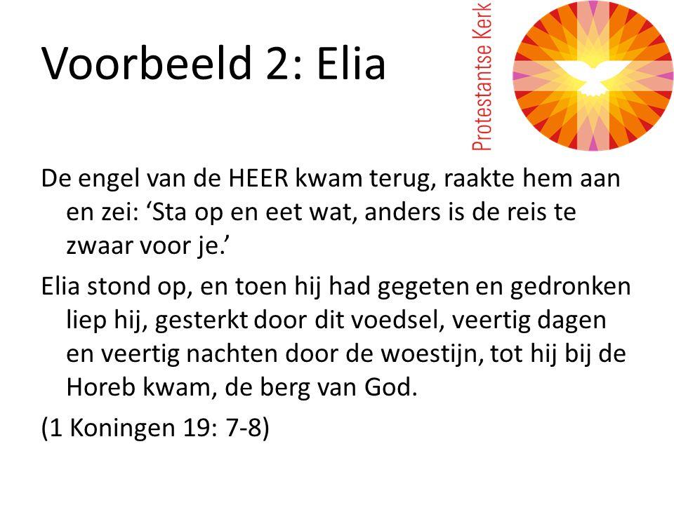 Voorbeeld 2: Elia De engel van de HEER kwam terug, raakte hem aan en zei: 'Sta op en eet wat, anders is de reis te zwaar voor je.' Elia stond op, en t