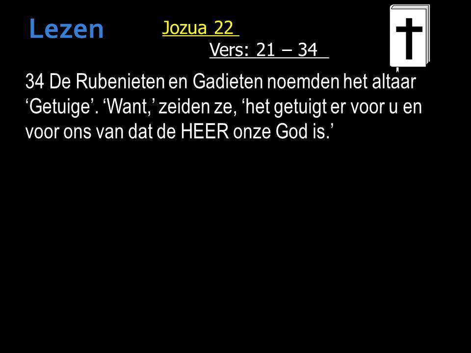 Jozua 22 Vers: 21 – 34 34 De Rubenieten en Gadieten noemden het altaar 'Getuige'.