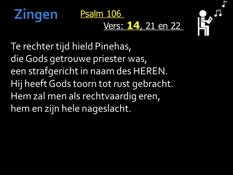 Psalm 106 Vers: 14, 21 en 22 Zingen Te rechter tijd hield Pinehas, die Gods getrouwe priester was, een strafgericht in naam des HEREN.