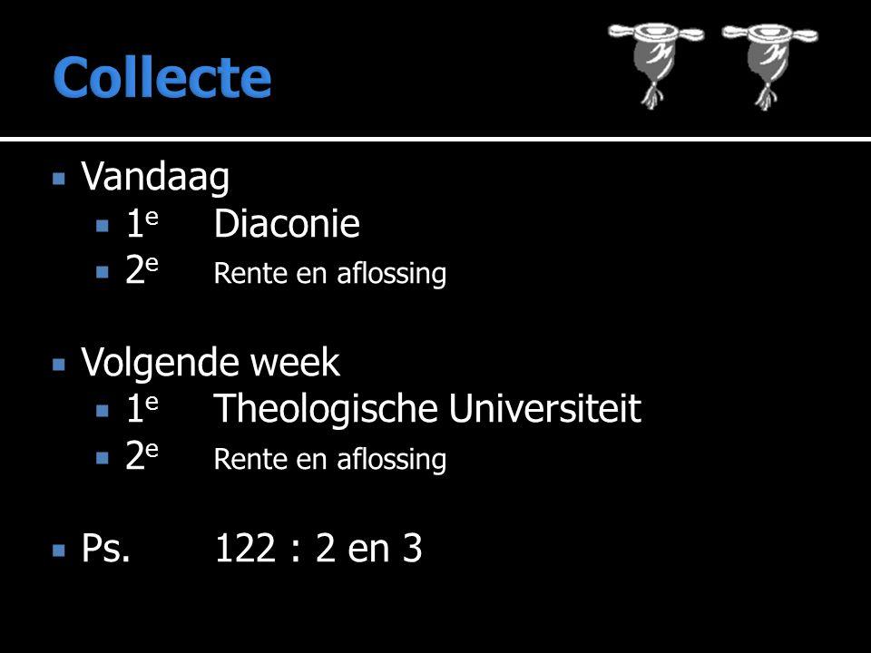  Vandaag  1 e Diaconie  2 e Rente en aflossing  Volgende week  1 e Theologische Universiteit  2 e Rente en aflossing  Ps.