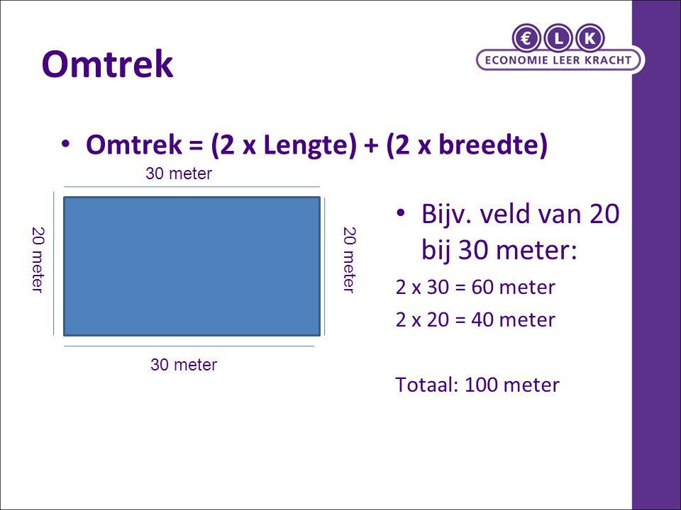 Omtrek Omtrek = (2 x Lengte) + (2 x breedte) Bijv. veld van 20 bij 30 meter: 2 x 30 = 60 meter 2 x 20 = 40 meter Totaal: 100 meter 30 meter 20 meter