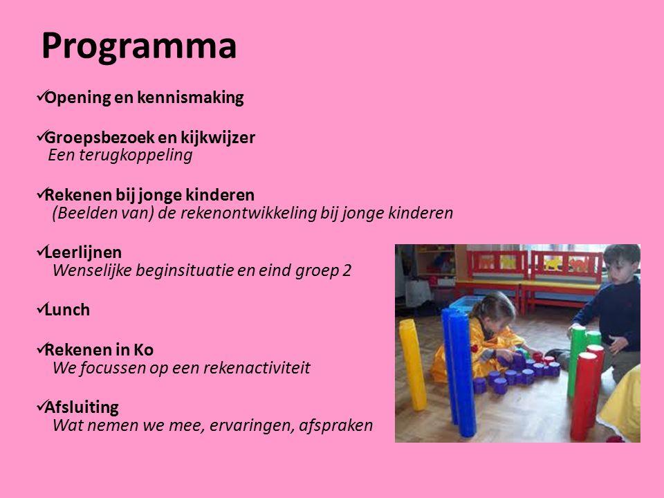 Programma Opening en kennismaking Groepsbezoek en kijkwijzer Een terugkoppeling Rekenen bij jonge kinderen (Beelden van) de rekenontwikkeling bij jong