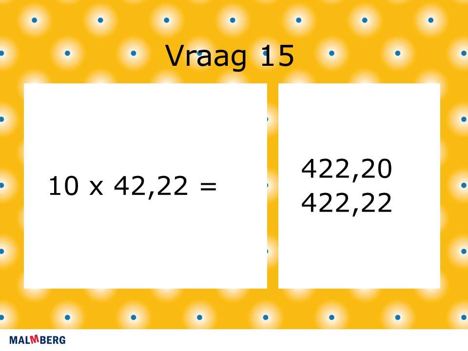 Vraag 15 10 x 42,22 = 422,20 422,22