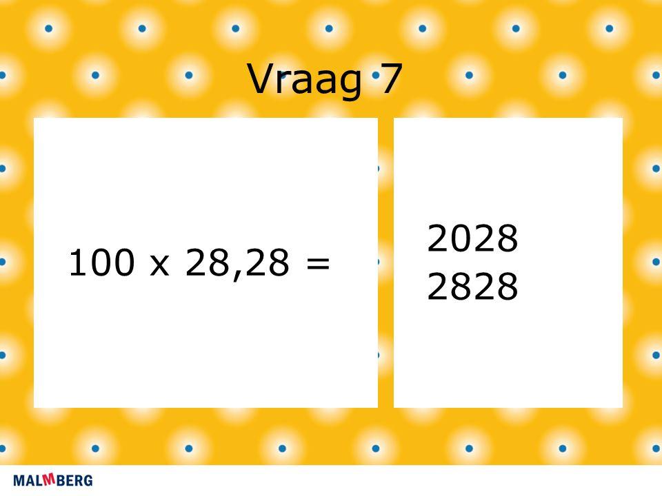 Vraag 7 100 x 28,28 = 2028 2828