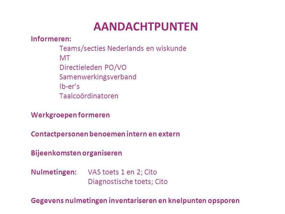 Informeren: Teams/secties Nederlands en wiskunde MT Directieleden PO/VO Samenwerkingsverband Ib-er's Taalcoördinatoren Werkgroepen formeren Contactpersonen benoemen intern en extern Bijeenkomsten organiseren Nulmetingen: VAS toets 1 en 2; Cito Diagnostische toets; Cito Gegevens nulmetingen inventariseren en knelpunten opsporen AANDACHTPUNTEN