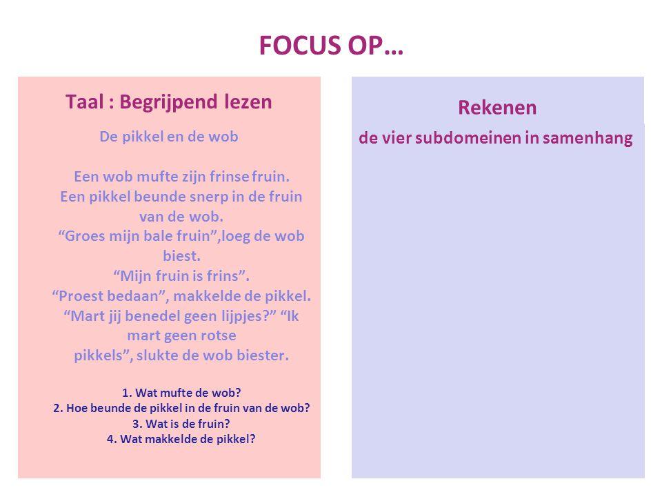 FOCUS OP… Taal : Begrijpend lezen De pikkel en de wob Een wob mufte zijn frinse fruin.