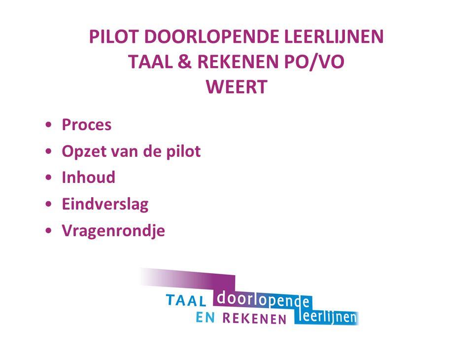 PILOT DOORLOPENDE LEERLIJNEN TAAL & REKENEN PO/VO WEERT Proces Opzet van de pilot Inhoud Eindverslag Vragenrondje