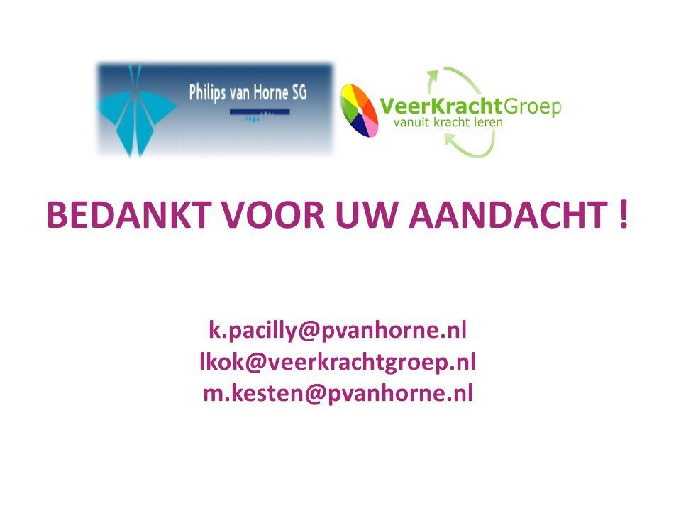 BEDANKT VOOR UW AANDACHT ! k.pacilly@pvanhorne.nl lkok@veerkrachtgroep.nl m.kesten@pvanhorne.nl