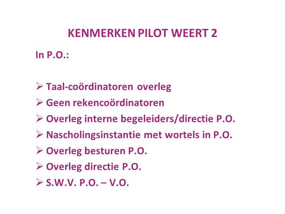 KENMERKEN PILOT WEERT 2 In P.O.:  Taal-coördinatoren overleg  Geen rekencoördinatoren  Overleg interne begeleiders/directie P.O.