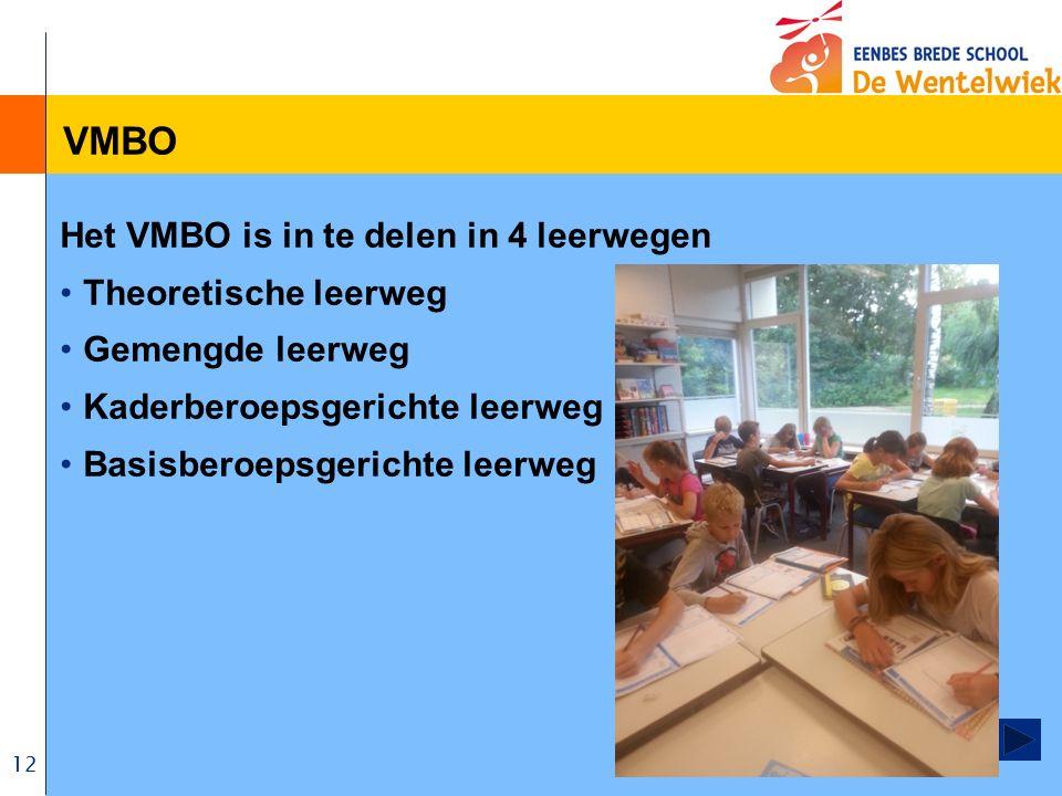12 VMBO Het VMBO is in te delen in 4 leerwegen Theoretische leerweg Gemengde leerweg Kaderberoepsgerichte leerweg Basisberoepsgerichte leerweg