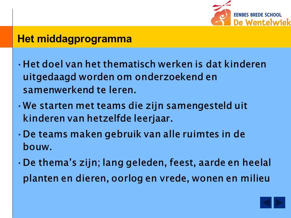 Het middagprogramma Het doel van het thematisch werken is dat kinderen uitgedaagd worden om onderzoekend en samenwerkend te leren.