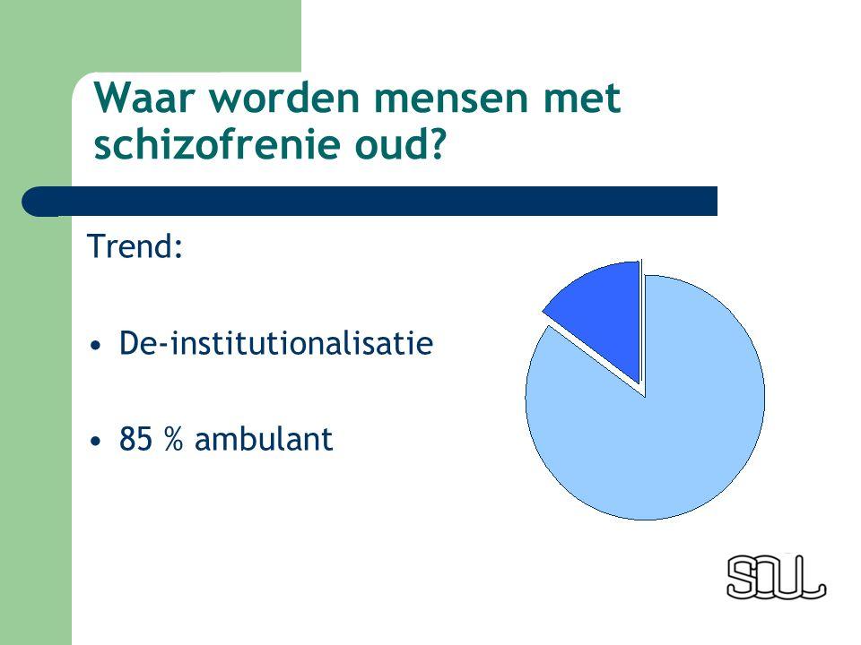 Waar worden mensen met schizofrenie oud Trend: De-institutionalisatie 85 % ambulant